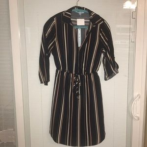 She And Sky Navy Striped Shirt Dress